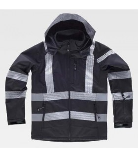 Workshell black jacket with discontinuous reflective tapes.