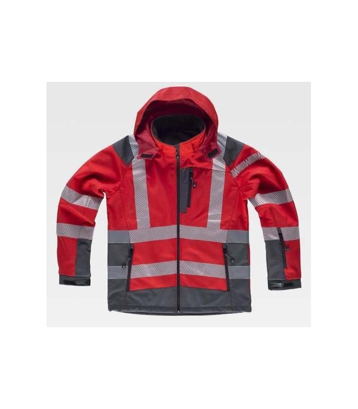 Chaqueta Softshell roja y gris reflectante con capucha