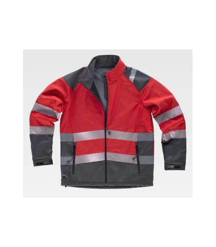 Chaqueta de trabajo roja y gris con bandas reflectantes