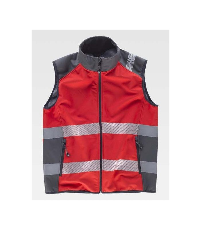 Workshell vest, red and grey combined with reflective tapes