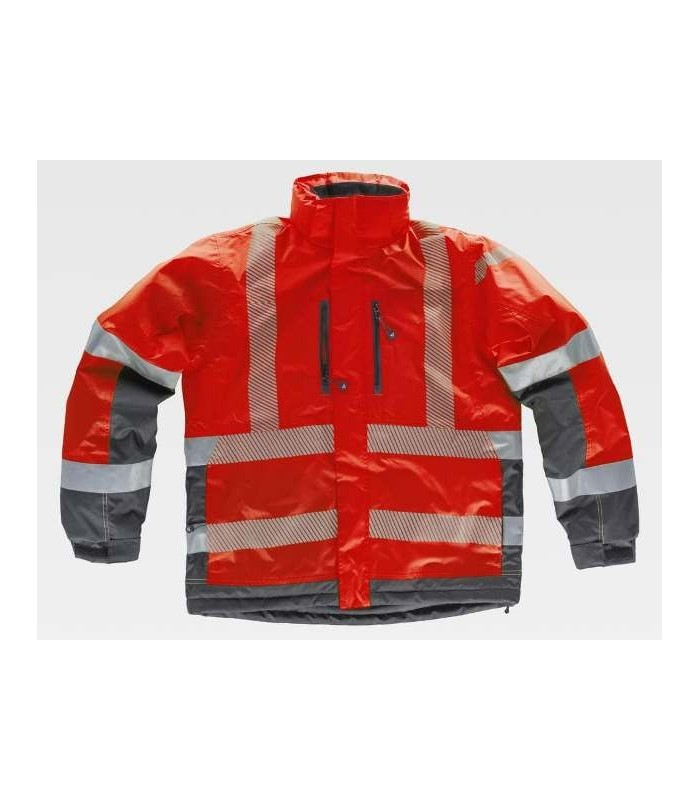 Chaquetón parka de trabajo roja y gris con bandas reflectantes