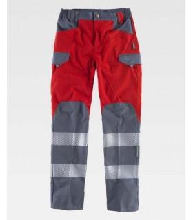 Pantalón de trabajo rojo y gris con bandas reflectantes