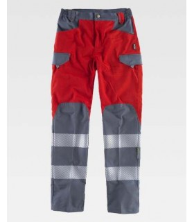 Red and grey Trousers with discontinuous reflective tapes