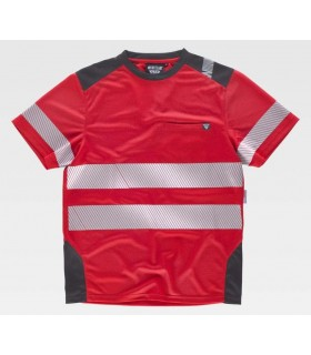 Red T-Shirt with micropique fabric with discontinuous reflective tapes