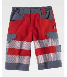Pantalón bermudas de trabajo rojas con reflectantes