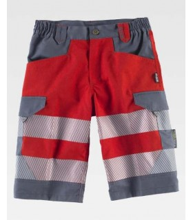 Red Short trousers combined and with discontinuous reflective tapes