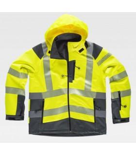 Chaqueta de trabajo alta visibilidad amarilla y gris