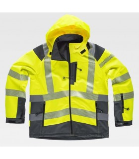 High visibility yellow Workshell jacket, combined with reflective tapes