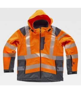 High visibility orange Workshell jacket, combined with reflective tapes