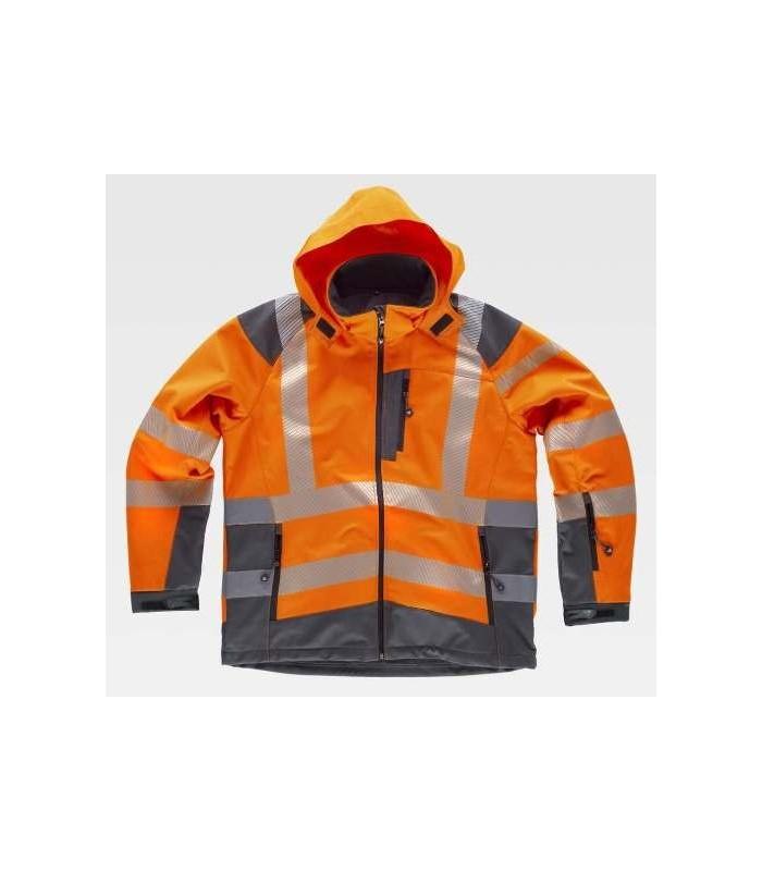 Chaqueta de trabajo naranja y gris de alta visibilidad