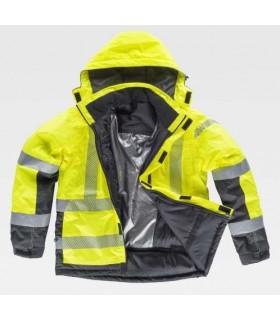 Chaquetón parka amarilla y gris para frío y lluvia de alta visibilidad