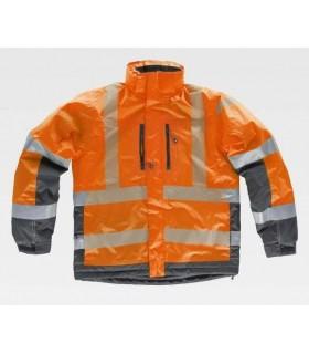Parka naranja y gris de alta visibilidad