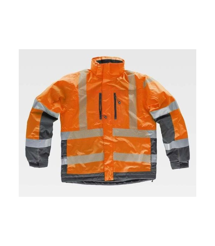 Waterproof and padded parka combined with high visibility and with reflective tapes
