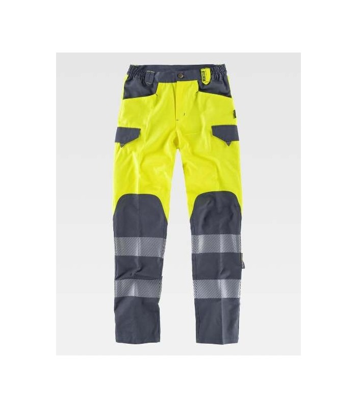 Pantalón de alta visibilidad amarillo y gris con reflectantes segmentadas