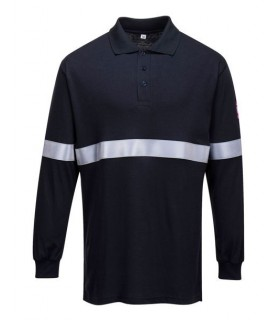 Navy Fireproof polo with Flame resistant reflective tape.