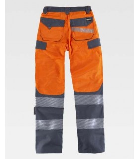 Yellow and grey Trousers combined with high visibility and discontinuous reflective tapes