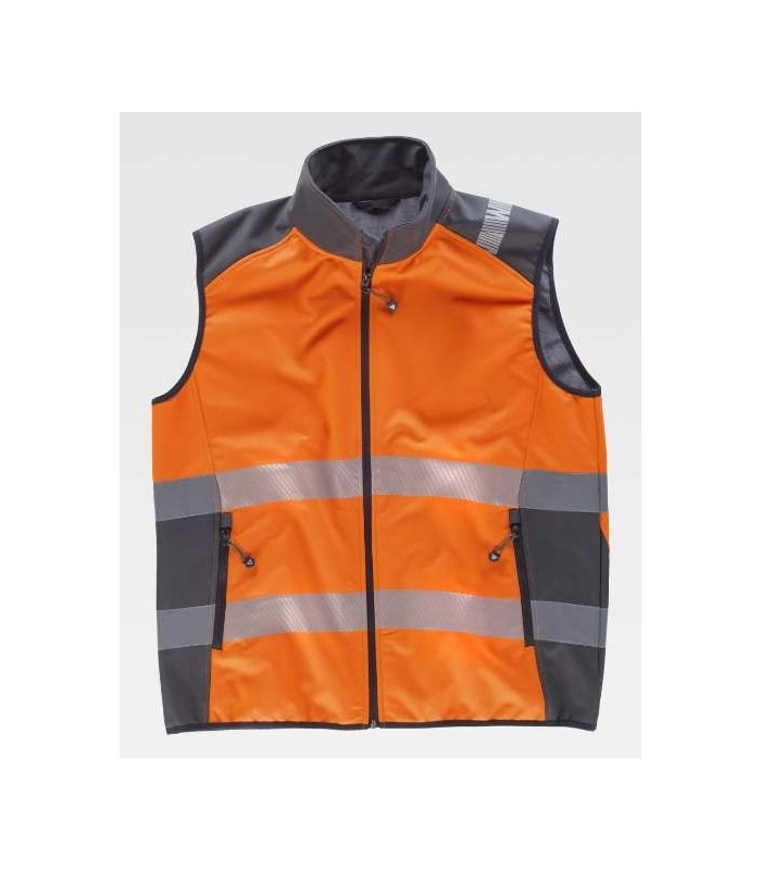 High visibility Orange Workshell vest, combined with reflective tapes