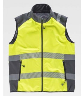 High visibility yellow vest, combined with reflective tapes