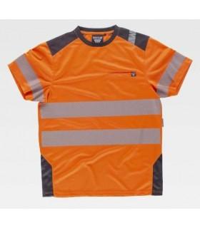 Camiseta naranja bandas segmentadas