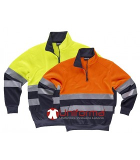 High visibility sweatshirt with reflective tapes