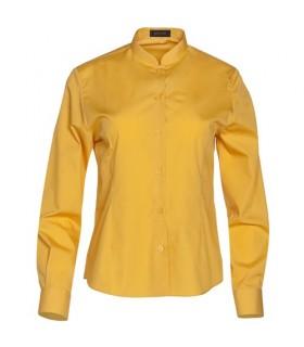 Camisa de mujer manga larga cuello mao amarilla