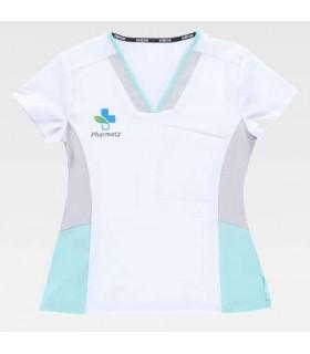 Casaca sanitaria elástica imprime tu logotipo en casacas sanitarias cuello pico
