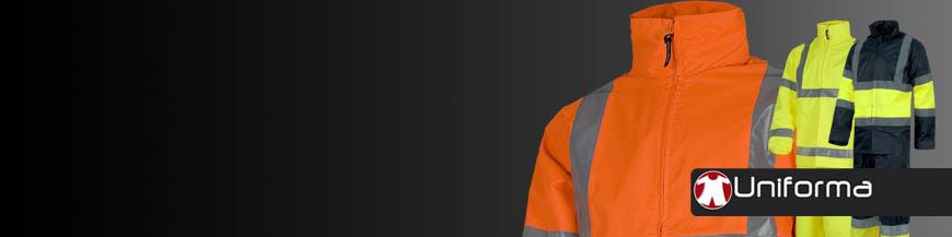 Impermeables y trajes de agua reflectante de alta visibilidad con logo EN ISO 20471 en uniforma