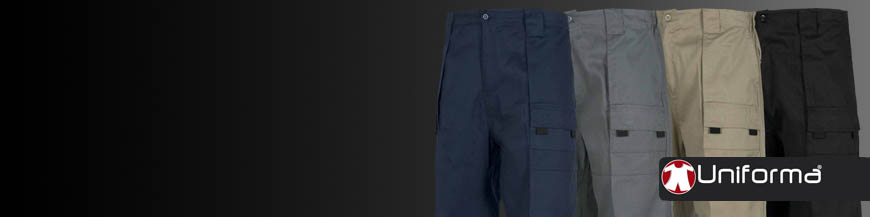 Pantalones de trabajo de colores lisos en uniforma con logotipo