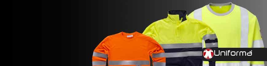 Sudaderas de trabajo reflectantes de alta visibilidad con bandas y cintas reflectantes EN ISO 20471 en uniforma